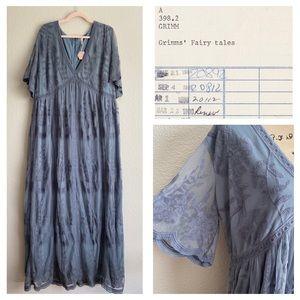 PINKBLUSH Slate Blue Maxi Lace Boho Dress 2X NWT